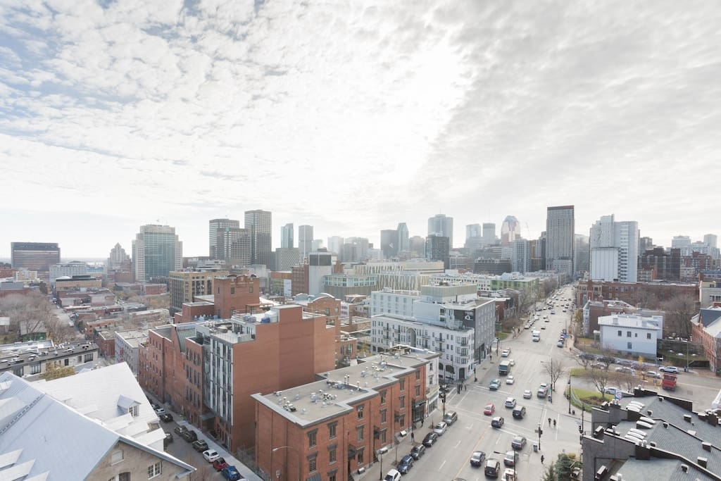 View from the balcony of All Montreal (Fleuve Saint-laurent,Old Port, Pont Jacques Quartier...)