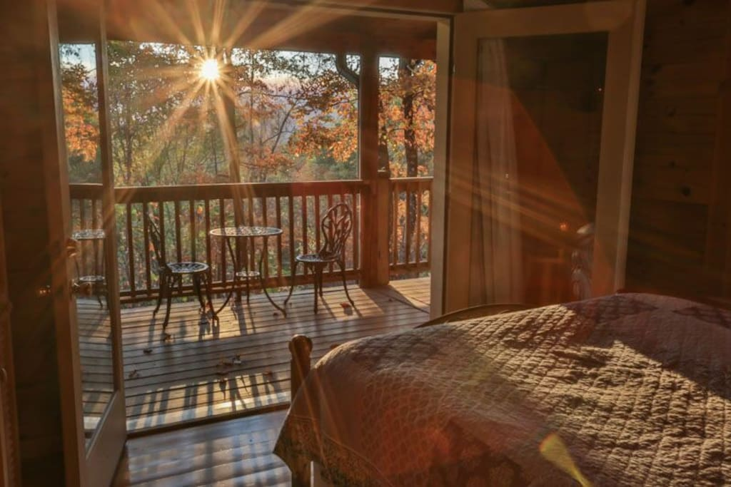 Queen bedroom on Main level with private deck access