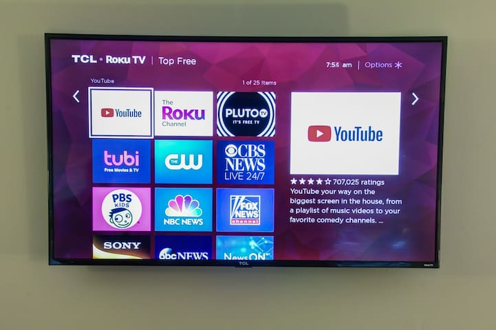 Roku smart televisions with YouTube TV for local channels.  All streaming through fiber optic high speed. Unlimited data.