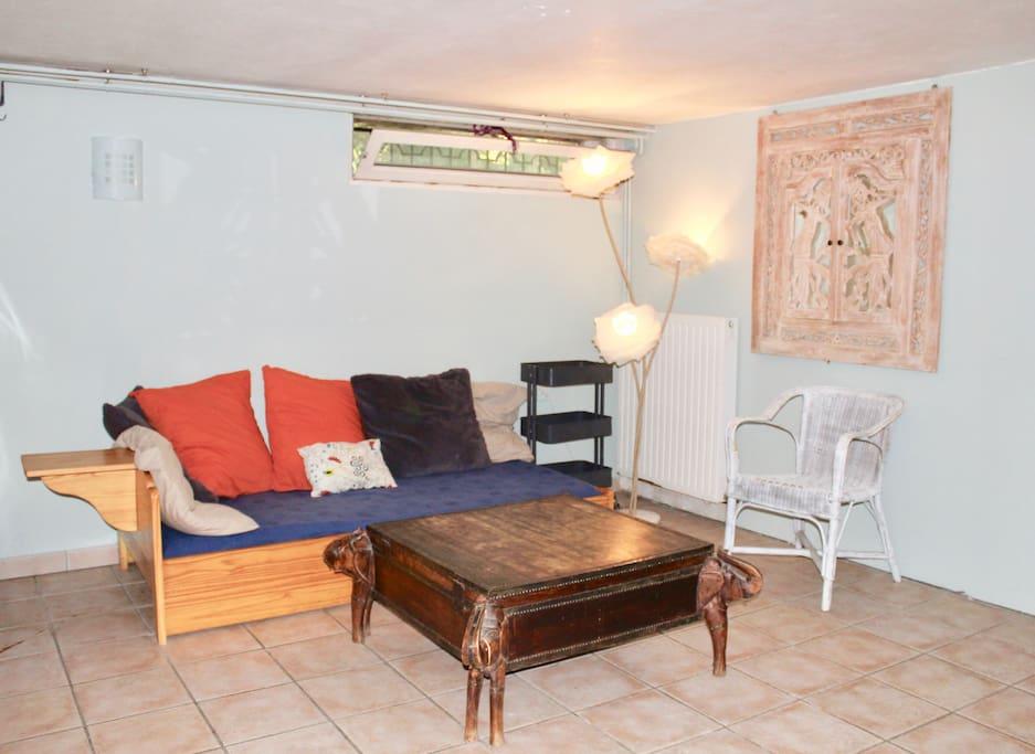 La pièce avec un canapé
