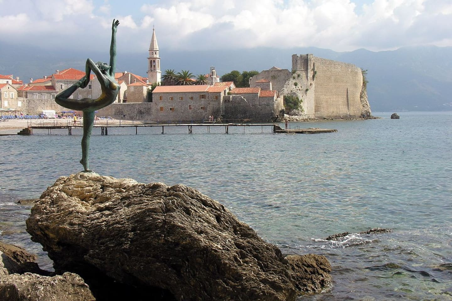 Budva- Old town and Sculpture