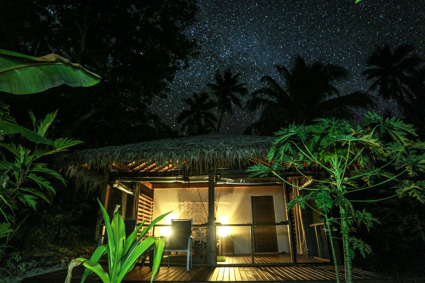 Divi's Jungle Bungalow, ready for you now and gorgeous at night.