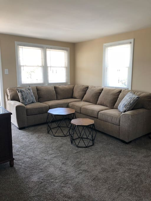 Cozy living room with large sectional sofa.