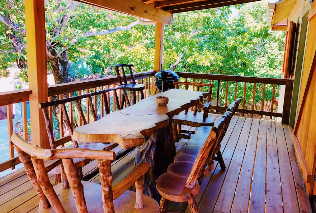 Large, covered, wrap-around deck with room for dinner gatherings