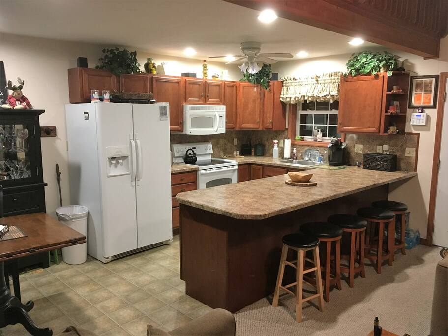 The kitchen is a great place for families to sit around and enjoy your meals and talk about fun times.