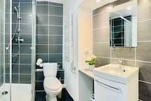 Jolie et spacieuse salle de bain avec douche et wc