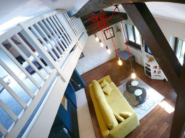 Skyview of the loft from the mezzanine