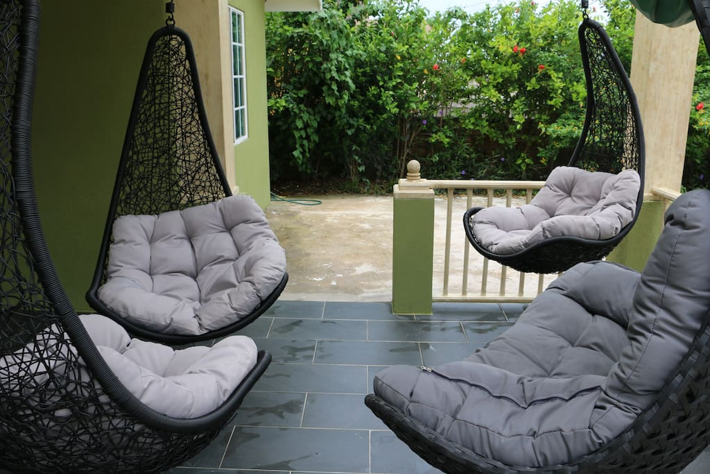 Patio with hanging furniture