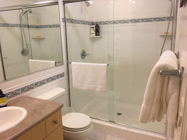 Bathroom with two shower heads.  Towels, soap and shampoo are provided.
