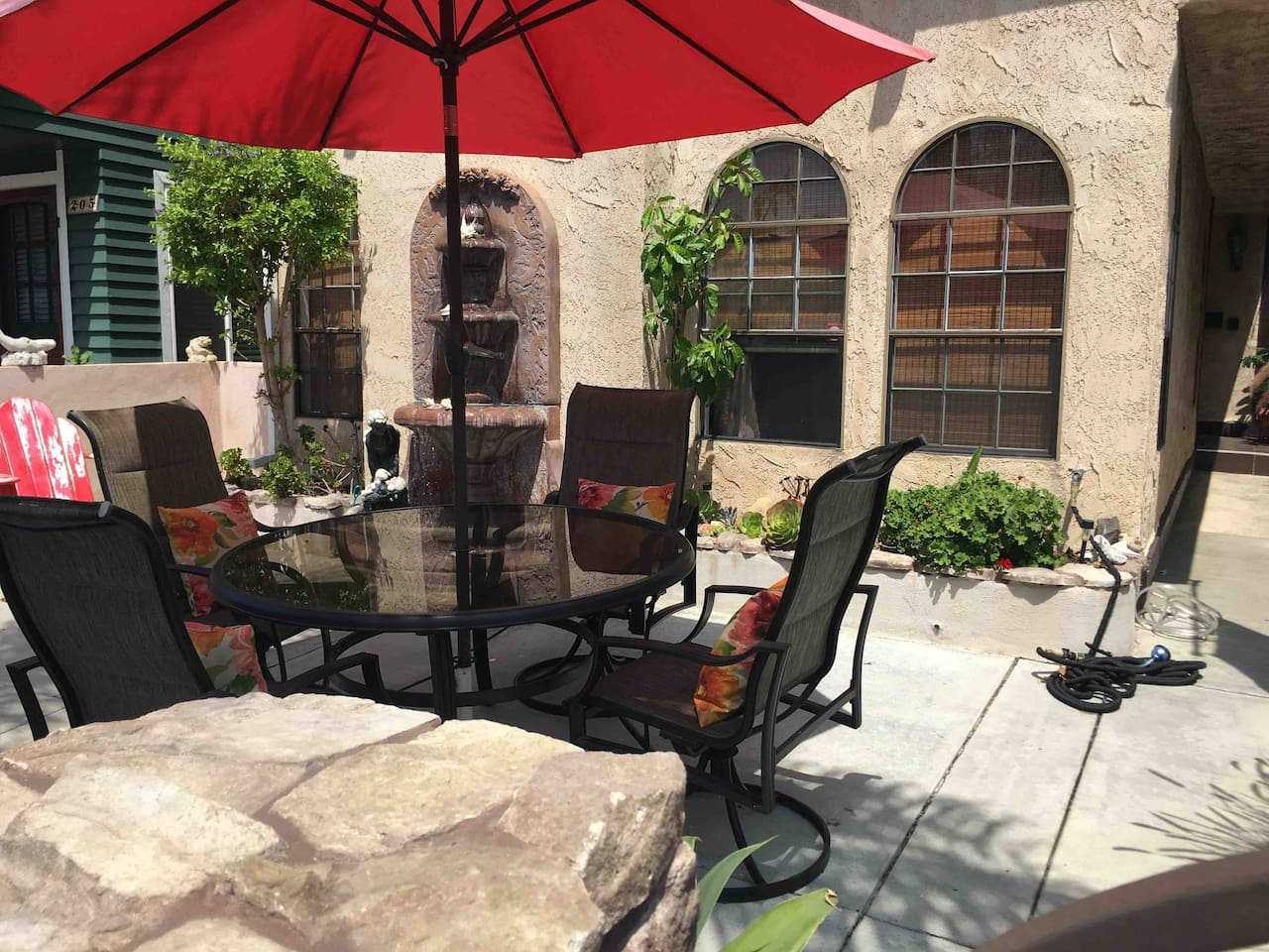 Guest patio seating area