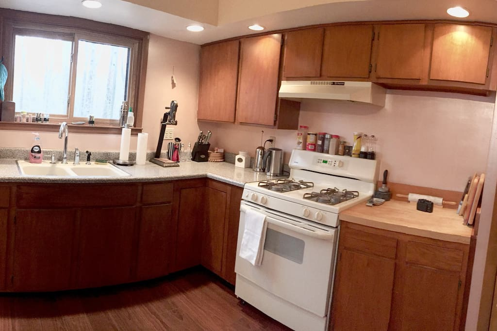 Kitchen equipped with appliances.
