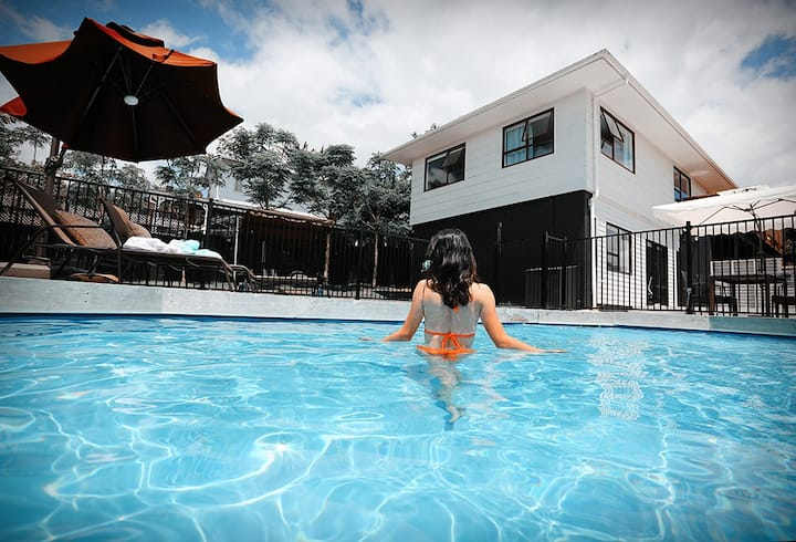 Swimming pool and mountain view room