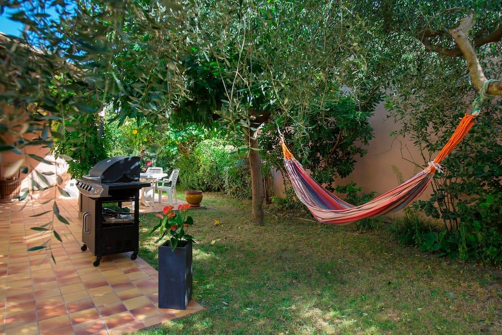 Le hamac accroché sous l'olivier...