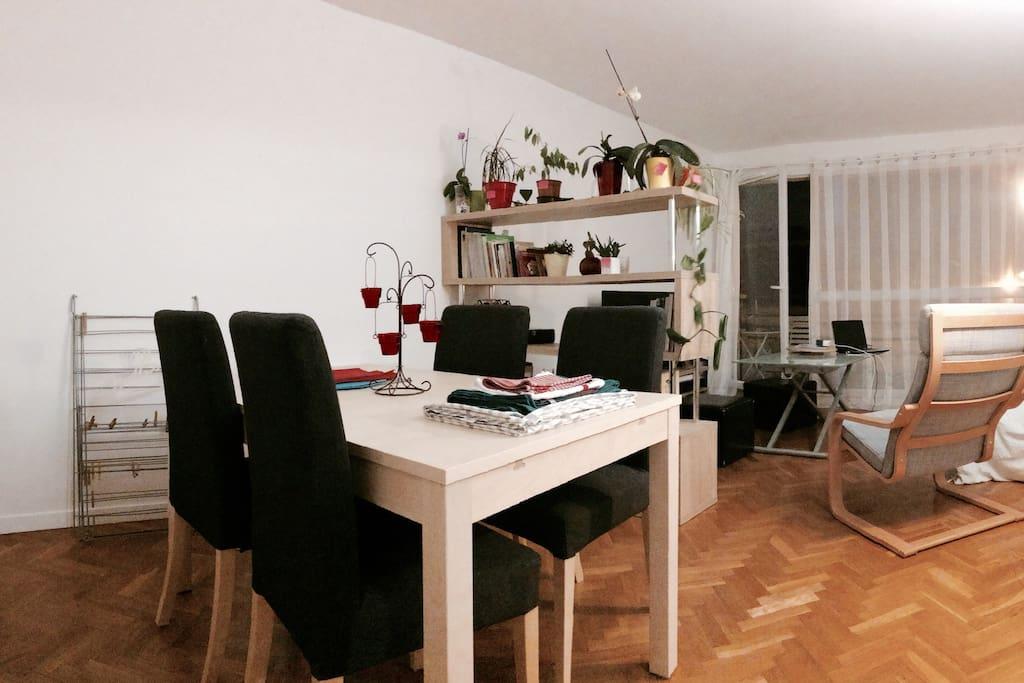 La pièce à vivre, de nuit : salon/salle à manger