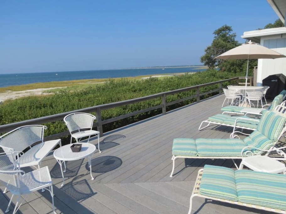 Nestled in the dunes on Cape Cod Bay, the property allows you to walk for miles at low tide and enjoy sunsets over the bay every evening!