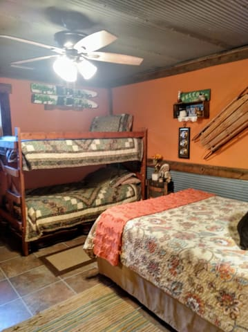 Bedroom #2 with queen size bed and set of bunk beds (sleeps 4).