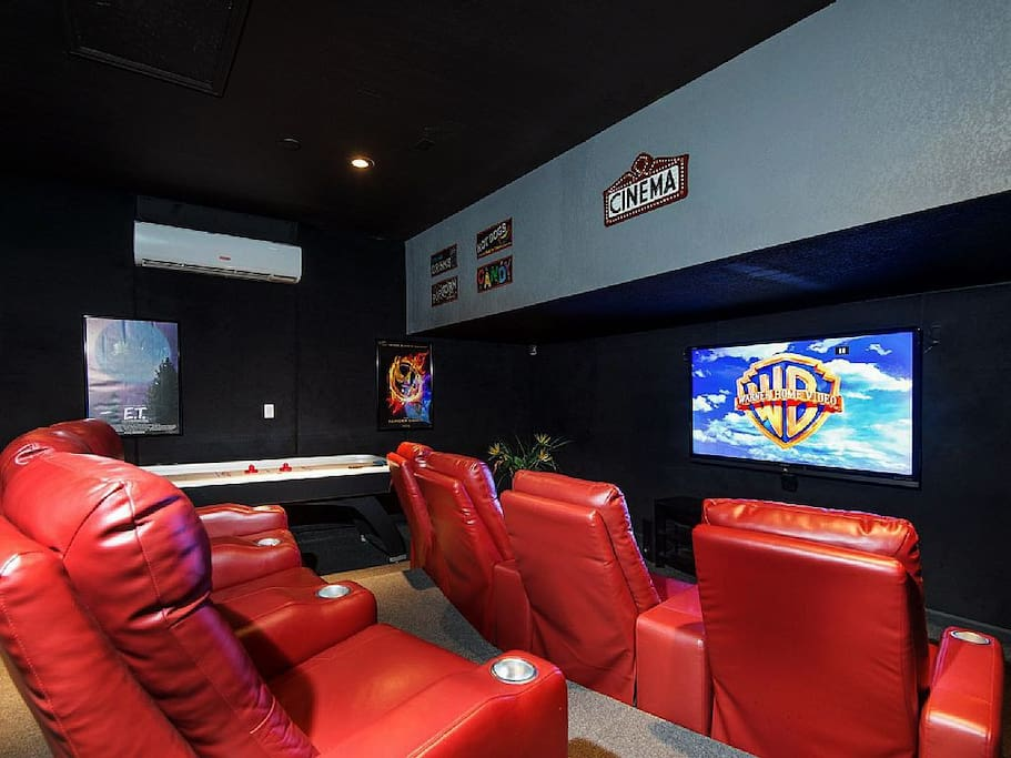 Private movie theater with air hockey