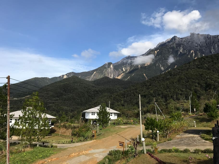 The rugged peaks of Mount Kinabalu as seen from Strawberry House Balcony.
