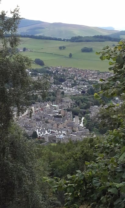 Looking down to the  town of Peebles