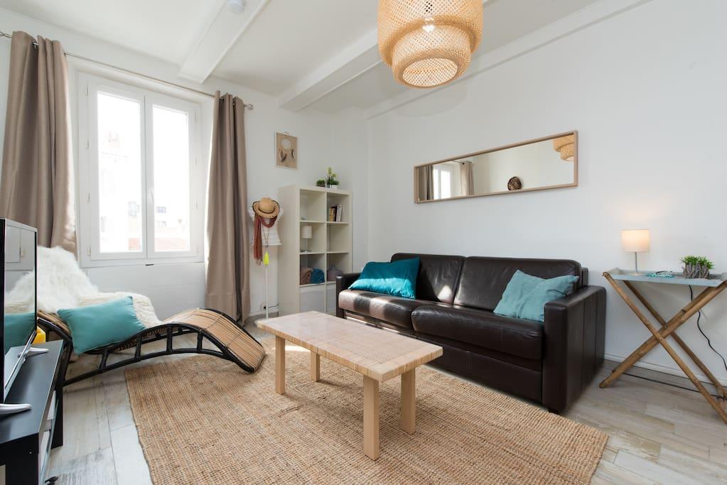 L'appartement se compose d'un salon confortable en cuir, d'une tv connecte à internet, d'un accès wifi. Nous avons pensé à vous avec un coin détente avec le transat cocooning et  quelques livres.  Le canapé est convertible avec  un vrai lit en bultex.