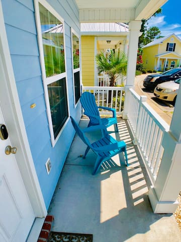 The front patio with chairs