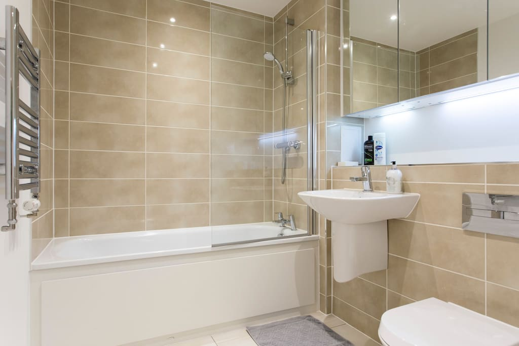 Your private bathroom with bath and shower