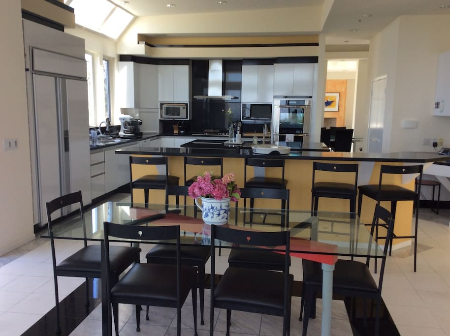 This is a view of the kitchen and eating area.