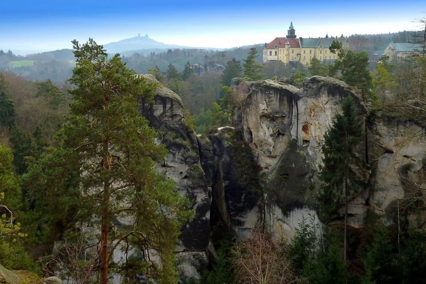 Bohemian Paradise: view of Trosky Castle and Hrubá Skála Castle from the Marian lookout