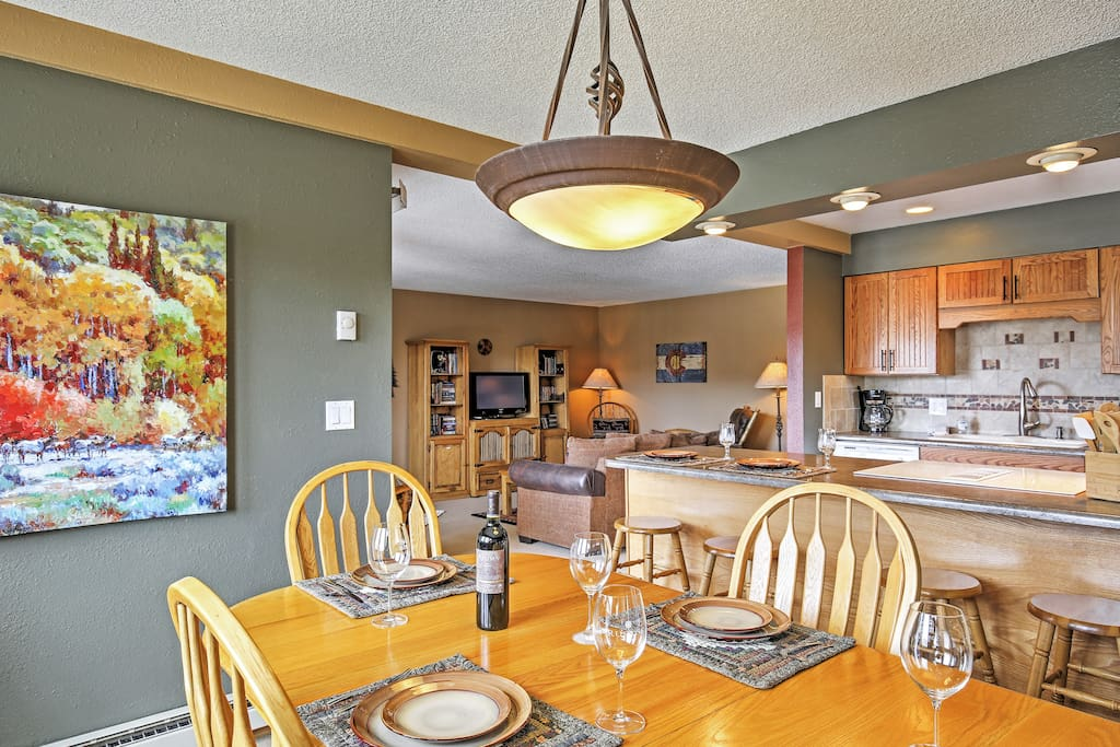 The kitchen opens up to the dining area, perfect for entertaining.