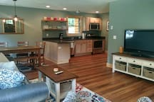 Living, dining and kitchen open concept