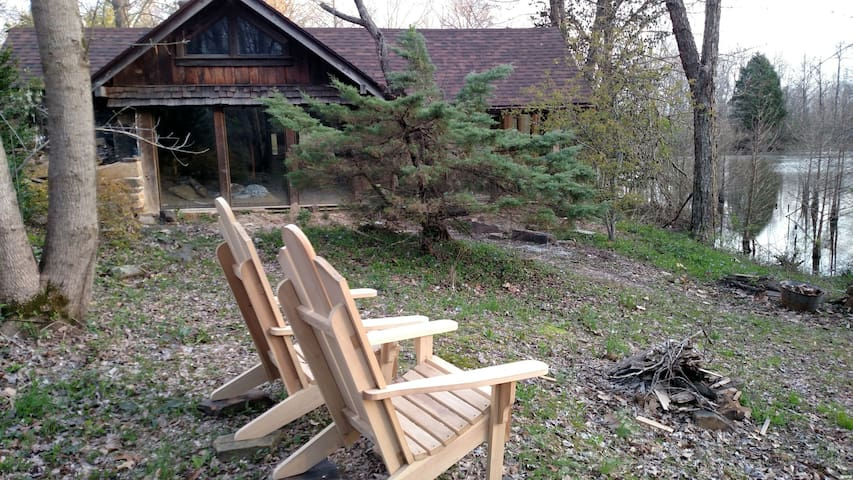 Behind Eva's Roost is a private area for morning coffee or an evening fire.