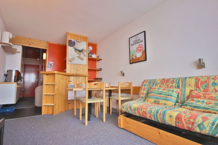 Studio for 4 persons in Arc 200 close to the slopes, the shops and the ice-rink