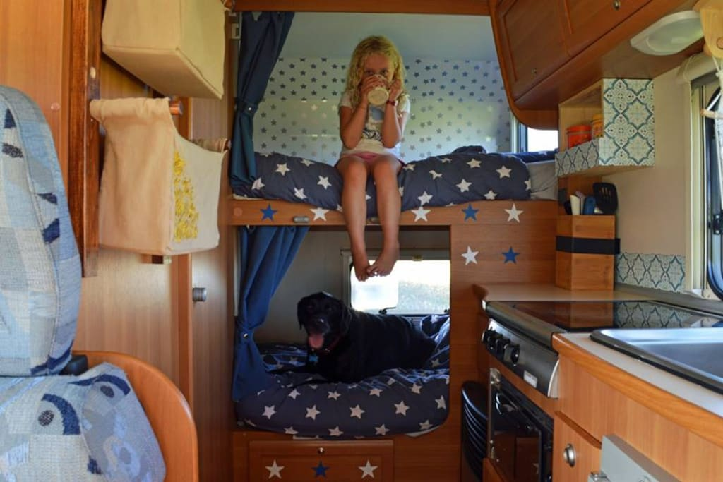 The bunks at rear of motorhome