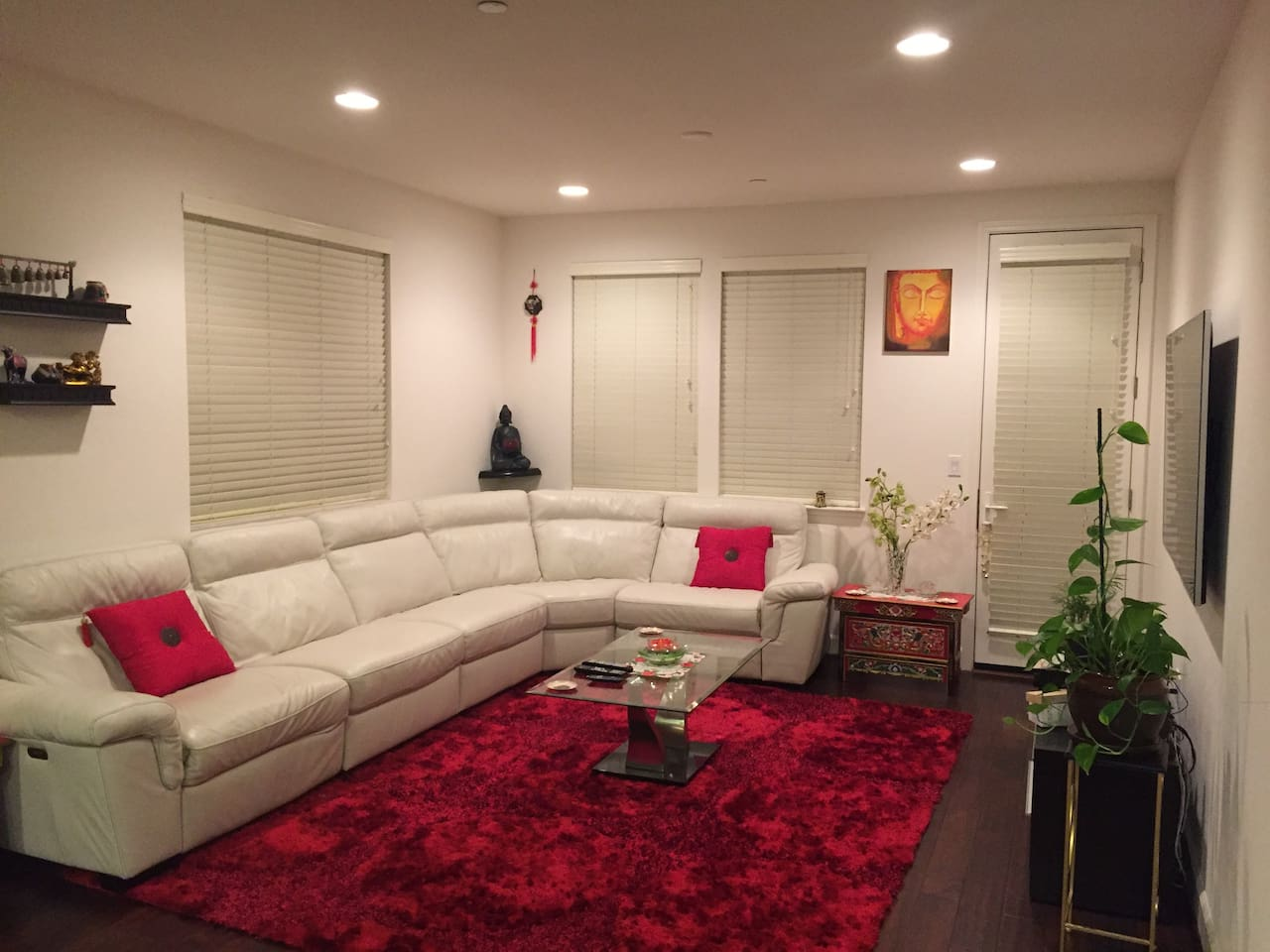 Living Room with 2 Power recliners and 65 Inch LED TV, Home Theatre.