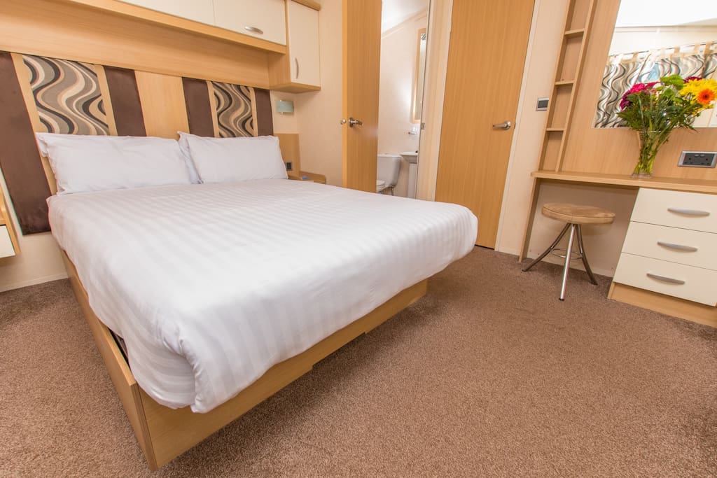 Typical caravan main bedroom
