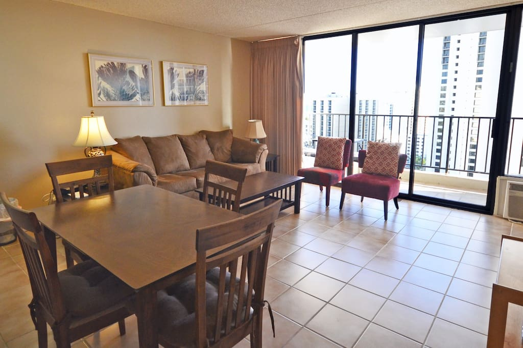Living room area, air conditioned unit on the 22nd floor.