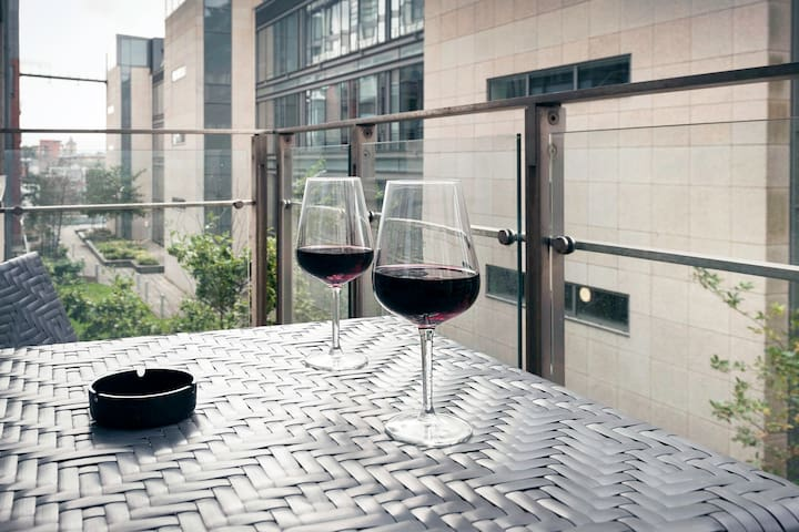The balcony is perfect for a glass of wine