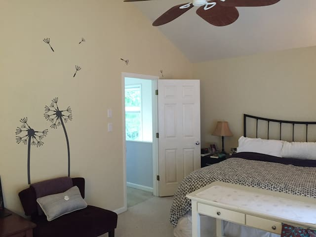 Spacious master bedroom with king-sized bed, private full bathroom, and access to closet.