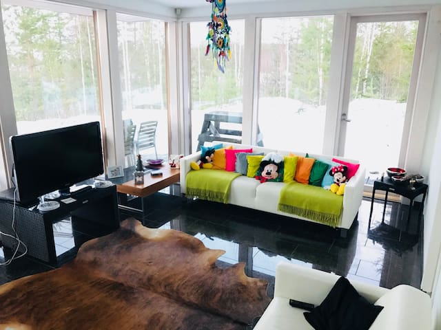 A very modern villa with sea view and close to Savonlinna. Very well equipped villa with high quality materials.