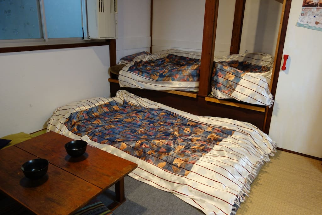 Two beds at night