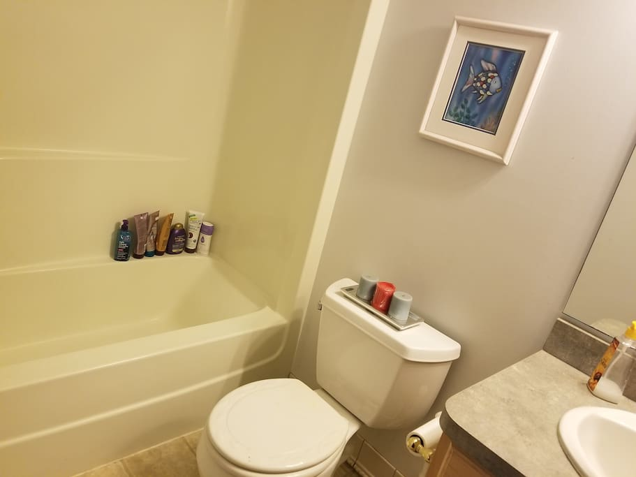 Private bathroom (of course, has shower curtain). Wanted to show off clean tub :)