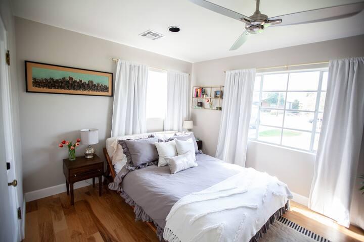 Bedroom one (of one), queen bed.