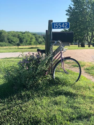 Old fashion bicycle and wildflowers greet you at the entrance to the driveway