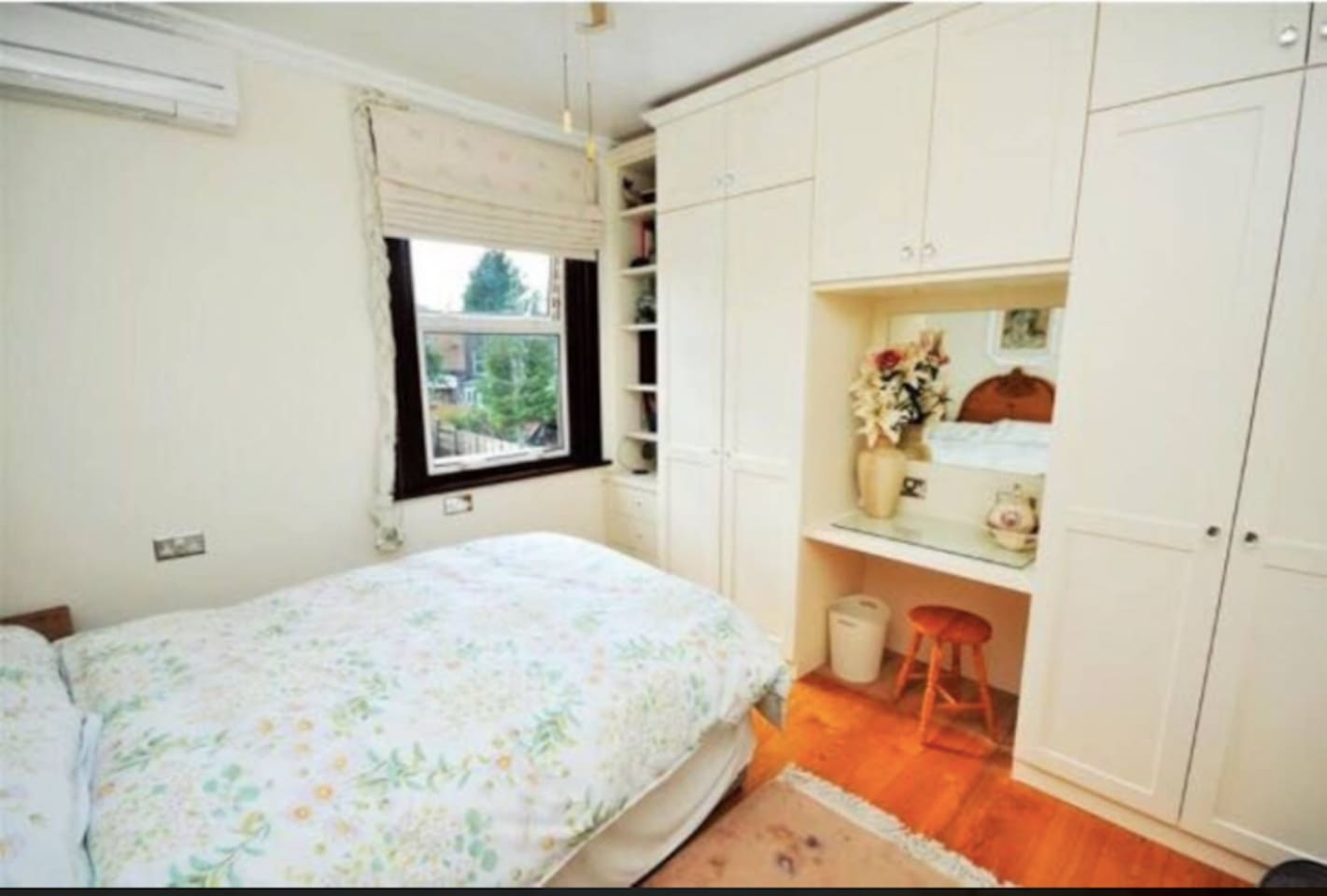 Your room - overlooking the garden with Aircon, natural Light and all the storage you'll need
