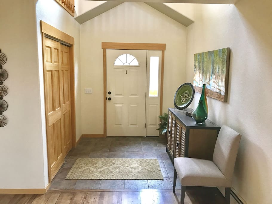 Enter through the front door and prepare to relax during your stay.