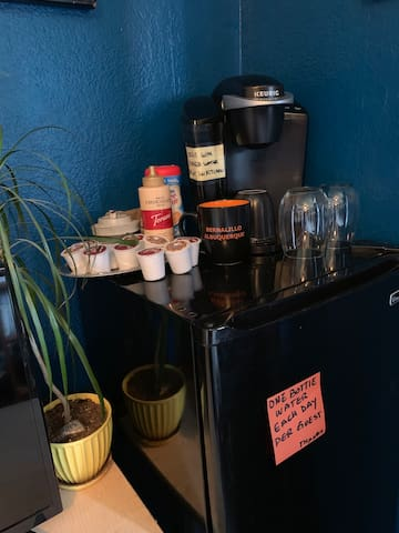 Mini fridge and coffee