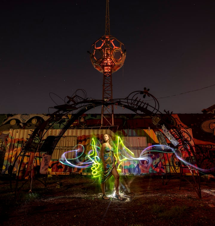 Light painting in at the Art Park
