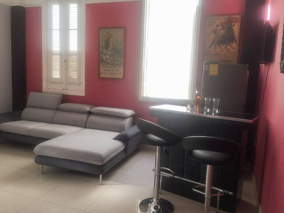 Living-room with a comfortable couch, a bar, Tv 32'' and fridge.