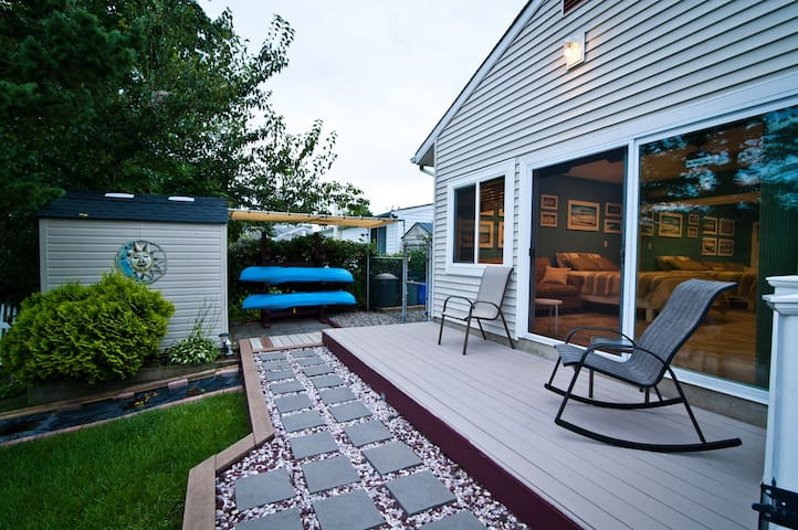 Private deck, large slider and window to enjoy views