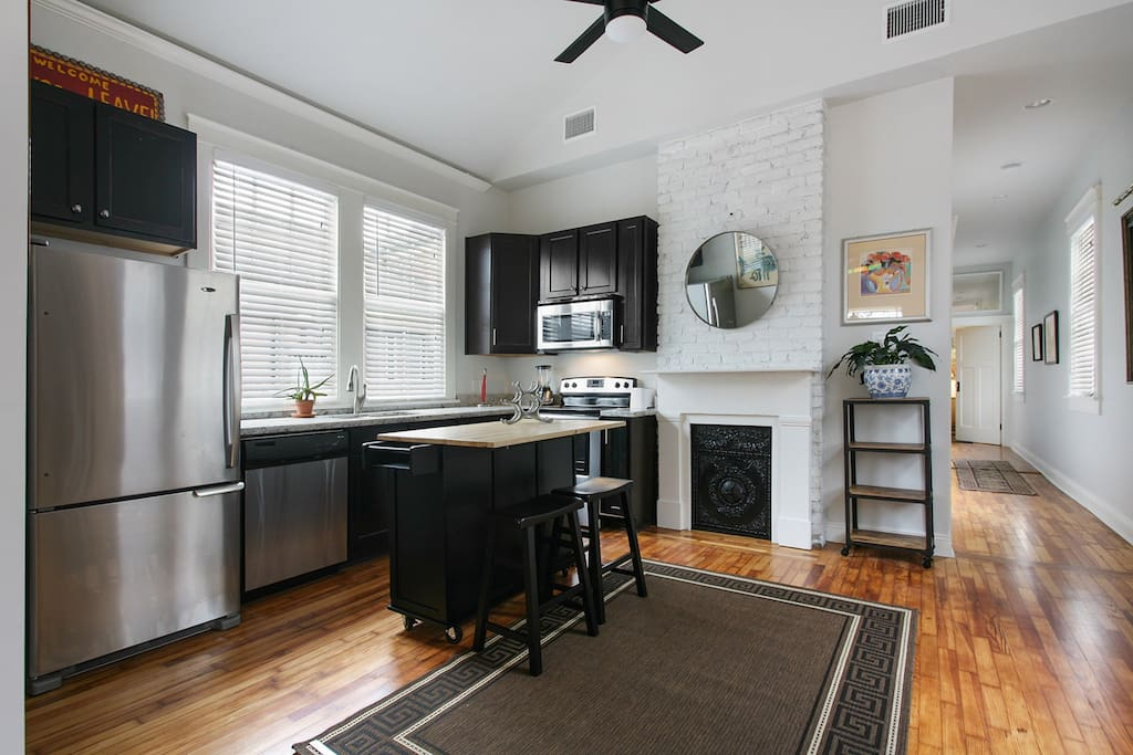 Kitchen with stainless appliances and everything you need to cook your favorite New Orleans recipe!